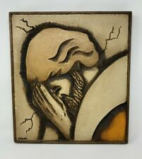 Vintage Jean-Claude Gaugy Painted Carved Wood Portrait of Jesus c1970's Signed