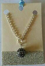 "*New* Black/silver Shamballa bead Necklace. 17"" chain."