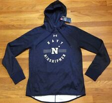 New Under Armour Women's S Navy Academy Midshipmen Double Threat Fleece Hoodie