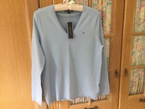 TOMMY HILFIGER LADIES V NECK JUMPER Pale Blue SIZE L(14/16+) Cotton Blend BNWT