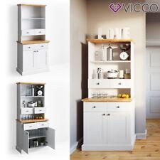 VICCO Küchenregal CAMBRIDGE 80 cm Vitrine Buffet Küchenregal Landhaus weiß Eiche