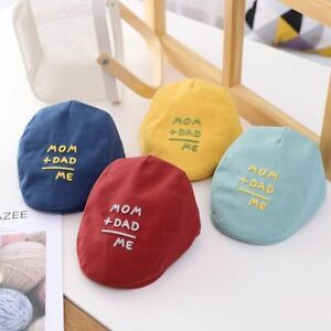 Letter Embroidery Kids Berets Outdoor Soft Cotton Baby Girl Boy Hat  Solid Color