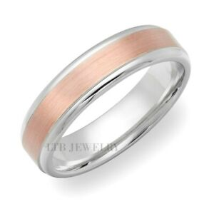 TWO TONE GOLD WEDDING BANDS,14K SOLID WHITE & ROSE GOLD MENS WEDDING RINGS 6MM