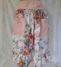 New Cotton Apron Womens Handmade FULLY LINED Pink Floral Button Pockets Ruffle