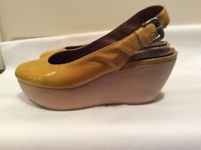 MARNI Patent Platform Slingbacks, Size 6.5. Mustard/Gold.