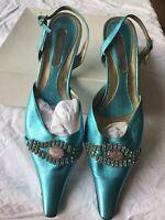 Original Premium Italian Women Turquoise Blue  Shoe And Bag Matching Set (9/43)