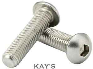 M6 (6mmØ) BUTTON HEAD SCREWS, ALLEN KEY SOCKET DOME BOLTS A2 STAINLESS STEEL
