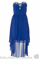 Quiz UK 10 Dip Hem Jewel Embellished HiLo Party/Evening/Event Dress Chiffon Blue