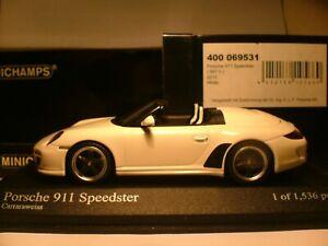 MEGA RARE MINICHAMPS 1/43 2010 PORSCHE 911 SPEEDSTER SUPERB DETAIL (997 II) NLA