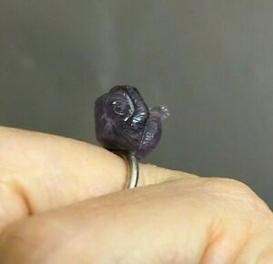 Sterling Silver MINIATURE AMETHYST DIAMOND CARVING RING see no evil monkey L 1/2