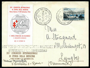 Italy - Commemorative Postcard for 1954 Medical Congress with Poster Stamp