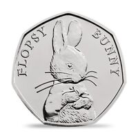 2018 UK FLOPSY BUNNY UNCIRCULATED COIN BU 50P- OFFICIAL UK ISSUE