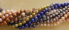 CULTURED FRESH WATER PEARLS: 10 STRANDS, VARIOUS COLORS & SIZES 16 INCH STRANDS