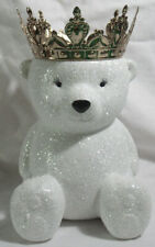 Bath & Body Works 3-Wick Candle Holder Pedestal GLITTER POLAR BEAR w/ gold crown