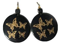GOLD BUTTERFLY PIERCE Black Round Womens Earring Wooden Hook Drop Retro Kitsch