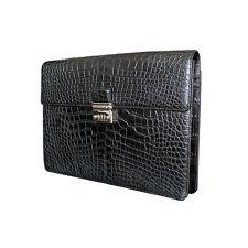 Montblanc Black Alligator Leather Single Gusset Briefcase Retail MSRP over $12K