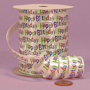 3/8inch wide  Printed Curling Ribbon HAPPY BIRTHDAY price for 5 yards