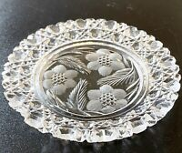 "Antique ABP American Brilliant Cut Intaglio Floral Star & Cane Glass Dish 7""W"