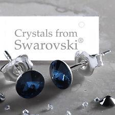 Sterling Silver Stud Earrings Navy Blue Montana Rivoli Crystal From Swarovski