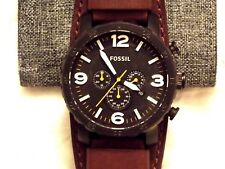 Fossil Men's Nate Chronograph Black Silicone Watch JR1425