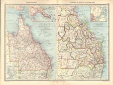 1907  LARGE ANTIQUE MAP - AUSTRALIA - QUEENSLAND, CENTRAL AND SOUTH QUEENSLAND