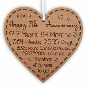 7th Anniversary Gift for Husband Wife Ideal Wedding Heart Hanging Keepsake