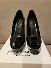 New YSL Palais 105 Open Toe Pumps in Black, IT 40, with box, floor display