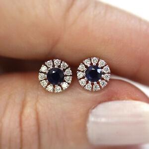 0.65 ctw Natural Sapphire Diamond 14k White Gold Cluster Halo Stud Earrings 7mm