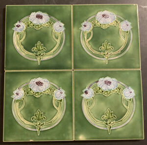 Set of 4 Antique T & R BOOTE Art Nouveau Tiles 1900's Floral Majolica ENGLAND