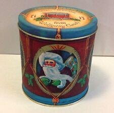 Vintage Wolfgang Candy Christmas Drum Tin Metal Box Santa Holiday York Pa