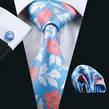 Men's Blue Floral Silk Tie 100% Jacquard Woven Silk Party Neckties Set SN-245