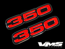 VMS 2 CHEVY 350 CI CUBIC INCH ENGINE BLOCK ALUMINUM EMBLEMS RED BLACK PAIR SBC