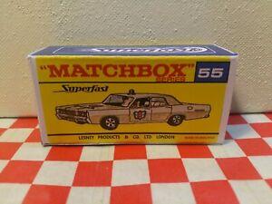 Matchbox Superfast Lesney No.55  Mercury Police Car EMPTY REPRO BOX  NO CAR