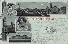Gruss de schlettstadt Alsace Costumes clair de lune carte postale 1898