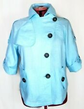 NWT Chico's Jacket Cropped Linen Trench Chico's Size 2 10 12 Aquamarine  Blue