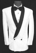 Men's White Double Breasted Tuxedo Jacket with Black Satin Lapels 44 Long
