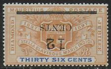 Mauritius stamps 1902 SG 156 Inverted Overprint UNG VF