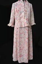 Floral Sleeveless Dress Small Pink w/ button Jacket Below Knee