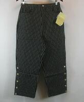 Denim & Co. Original Waist Stretch Striped Crop Pants Black Sz 10 NEW A51567