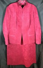 Burgundy Ultrasuede Skirt Suit by James Chen Mandarin Hotel Hong Kong - Size 18