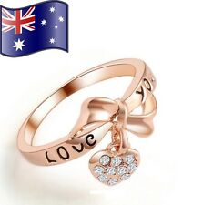 Stunning Love You Bowknot Rose Gold 18K CZ Heart Dangle Charm Ring Women's Gift