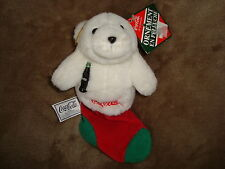 "Coca Cola Ornement Bear in Christmas Stocking 1997 Plush 7"" long"
