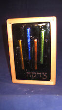 Tzedakah Box - Dichroic Streamers Fused Glass on Blue - Wood - Hand Made - Usa