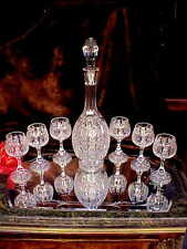 1960's CUT GLASS Crystal Footed Decanter 6 RING STEM Wine Glasses PANEL CUT WOW!