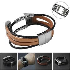 Ersatz Leder Handgelenk ErsatzBand Uhrenarmband Armband für Fitbit Charge 2 z6