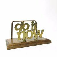 Vtg Mid Century Do It Now Brass & Wood Desktop Office Bill Letter Folder Holder