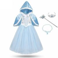 Girls Cinderella Princess Costume Set Cosplay Party Dresses Fantasy With Cloak