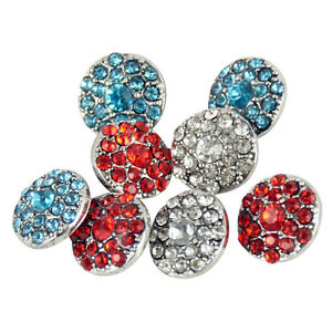 Wholesale Rhinestone Alloy Round Buttons Snaps Fashion Jewellery Buttons 12mm