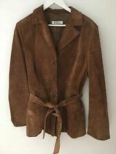 Marella Max Mara All Leather Tan Brown Suede Leather Jacket Size UK 14 *VGC*