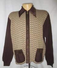 60/70's Vtg Retro Cascade of California Atomic Print Full Zip Sweater Men's XL